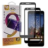 Guran [2 Paquete Protector de Pantalla para Google Pixel 3A XL Smartphone Cobertura Completa Protección 9H Dureza Alta Definicion Vidrio Templado Película - Negro