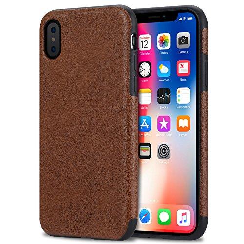 Bisikor iPhone XS Case/iPhone X Case Leather Texture Design Slim Case...
