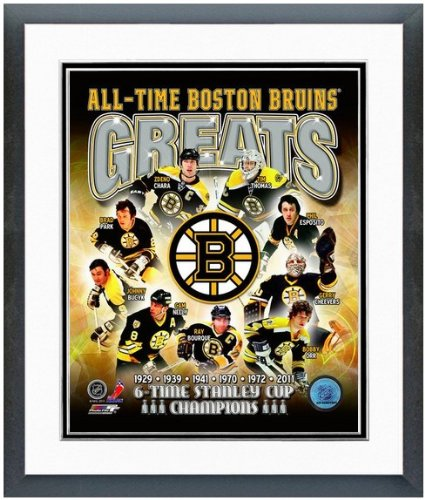 "NHL Boston Bruins All Time Greats Photo Matted & Framed 12.5"" x 15.5"""