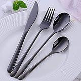 LQH Set de Cubiertos de Acero Inoxidable 304 de vajilla portátiles Cubiertos Set Top Cuchillos cucharadas de Forks for la alimentación de 24Pcs Set Purple (Color : Black)