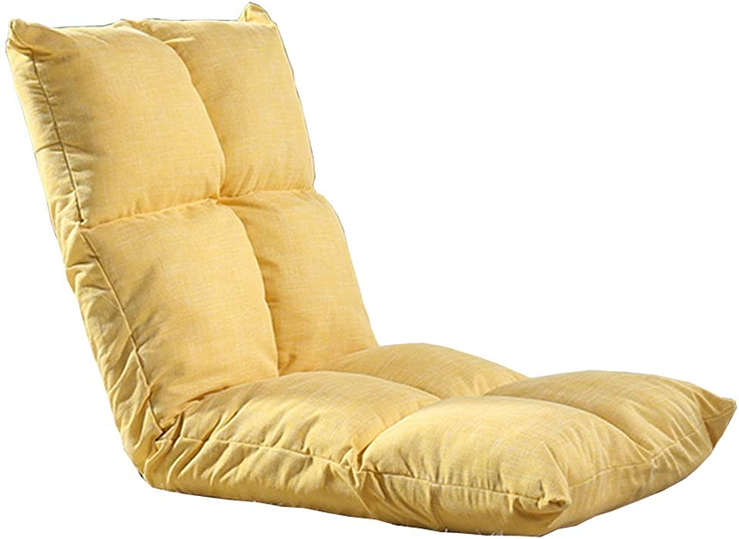 LJFYXZ Foldable Padded Floor Chair Single Sofa 6-Speed Adjustment Metal Frame Breathable Cotton Four Seasons use Bedroom Living Room Bearing Weight 120kg 110x52x13cm (color   Yellow)