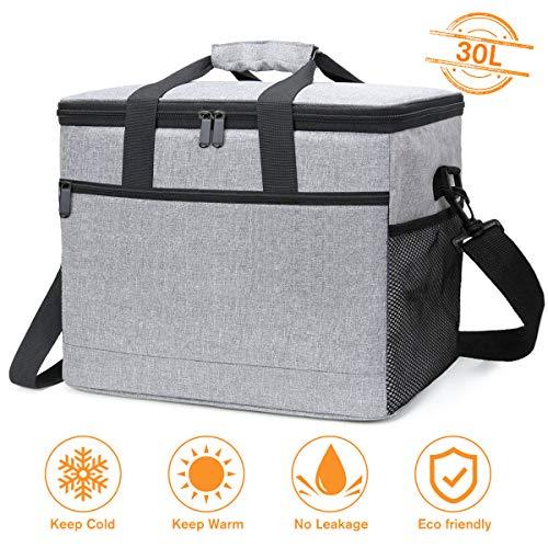 NASUM Kühltasche 30L, Picknicktasche Kühlbox Lunch Tasche, isolierte für Lebensmitteltransport, für Büro Arbeit Outdoor Camping Reisen, Eistasche klappbar faltbar groß, 40.5 * 26.5 * 31cm