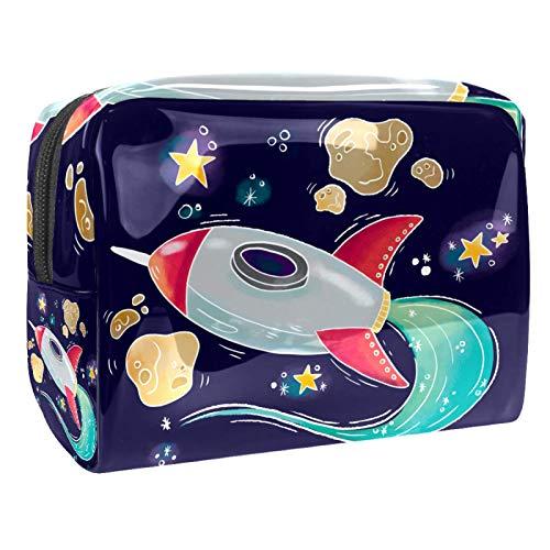 Neceser de Maquillaje Estuche Escolar para Cosméticos Bolsa de Aseo Grande Estrellas de meteorito de avión cósmico de Dibujos Animados
