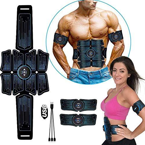 Z&HA EMS-Pads, ABS Stimulator Muskel-Toner, Bauchmuskelgürtel Muskeltrainer, beweglicher Fitness-Trainer für Bauch, Arm und Bein, mit 6 Modi 8 Stufen, USB-Lade (8-Pack)