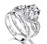 Engagement Ring Set Women Wedding Solid Sterling Silver 925 Rhodium Plated Cubic Zirconia Stones Grade AAAAA+ Alternative to Diamonds Round Cut 8 mm Unique Design Anniversary Promise Bridal Valentines