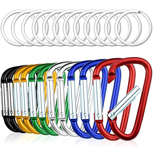 Topbuti 12 Pack Aluminum Carabiners D Ring with Keychain, 2.5 Inch Carabiner Clip D Shape Buckle Spring Snap Hook Keyring for Backpack Water bottle Key Outdoor Camping Hiking Fishing