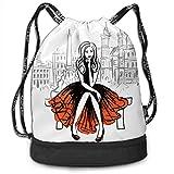 KKLDOGS Mochila con cordón de la bolsa artística dibujado a mano dibujo de mujer sentada en el...