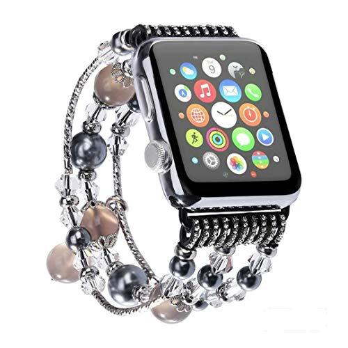LIUZH Correa de metal compatible con Apple Watch de 38 mm y 40 mm de acero inoxidable para mujeres y niñas, para Apple Watch Series 6, 5, 4, 3, 2, 1 SE (color: negro, tamaño: 38/40 mm)