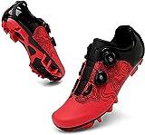 ZQW Männer Rennrad Radfahren-Schuhe, Kompatibel Mit Innenbereich Mountain Road Bike Peloton SPD-Schuhe Für Delta-Stollen-Clip, Um Pedal Zu Sperren (Farbe : Red MTB, Größe : UK-7/EU41/US-8)
