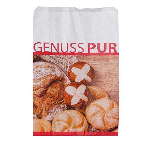 Wertpack 500x Bäckerfaltenbeutel Genuss Pur, Brötchentüten, Kraftpapier, 20 + 7 x 42 cm