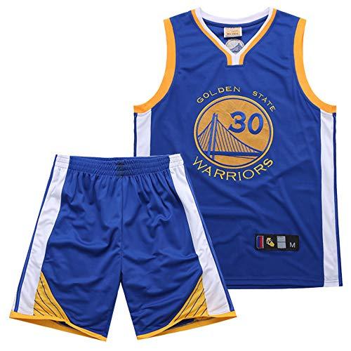 Dybory Men Boy Basketball Trikot Set, Warriors 30# Curry Kid Basketball Uniform Stickerei Mesh Schnelltrocknende Weste Training Jersey Top Shorts,Blau,XS