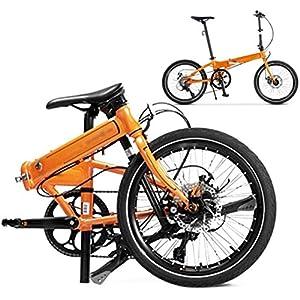 51GTHPAz5NL. SS300 AYDQC Bicicletta Pieghevole da Bici da 20 Pollici, Bici da Bicicletta Pieghevole a 8 velocità, Bicicletta MTB con Doppio Disco Freno, Unisex Leggero pendolare Bike 5-29, Nero fengong (Color : Orange)