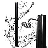 VINGO Solardusche 35Liter Solar Gartendusche Schwarz Gartendusche mit Duschkopf und Fußdusche Gartenschlauch-Anschluss ohne Stromanschluss Pooldusche Camping Warmes Wasser max. 60°C