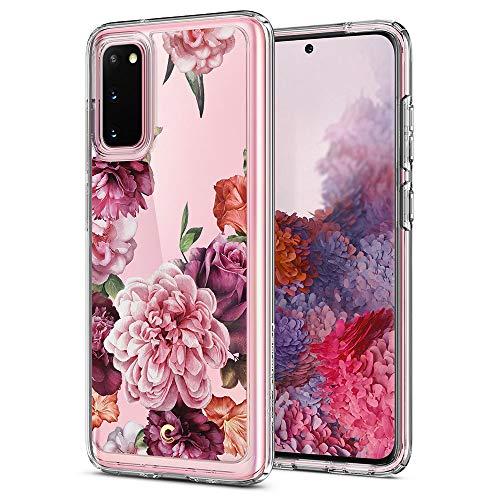 CYRILL Cecile kompatibel mit Galaxy S20 Hülle, (2020) (6,2 Zoll) Transparent Motiv Hart PC Back und Soft Silikon Bumper Handyhülle Durchsichtige Samsung Galaxy S20 Hülle - Rosa Blumen