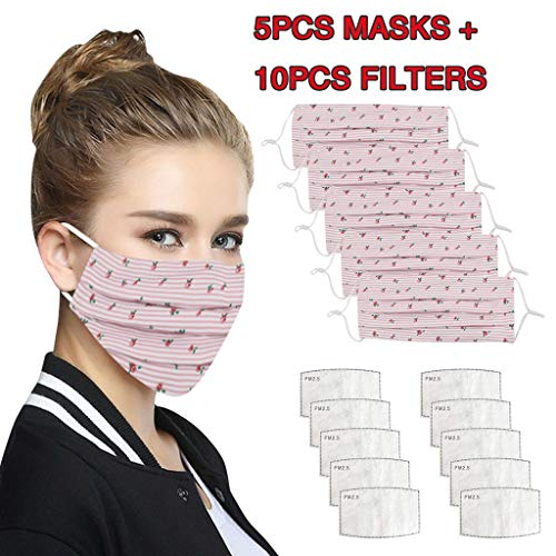 iHHAPY 5 Pack Reusable Print Face_Masks Bandanas with Filters Anti-Haze Dust Face Protection Washable Fabric for Women and Men