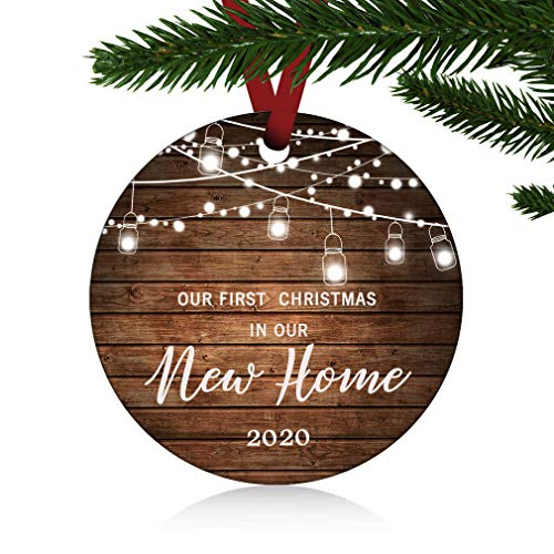 ZUNON First Christmas in Our New Home Ornaments 2020 Our First Christmas New Home Married Wedding Decoration 3' Ornament (New Home Ornament 1)