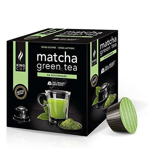 King Cup - 4 förpackningar med 10 Matcha gröna te-kapslar osötad, 40 kapslar 100% kompatibla med Nescafè Dolce Gusto-systemet med Matcha-smaksatt dryck, glutenfri och laktosfri