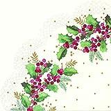 IHR Rondo - Tovaglioli di carta tondi scanalati giapponesi, motivo: Cynthia Cream Christmas Holly