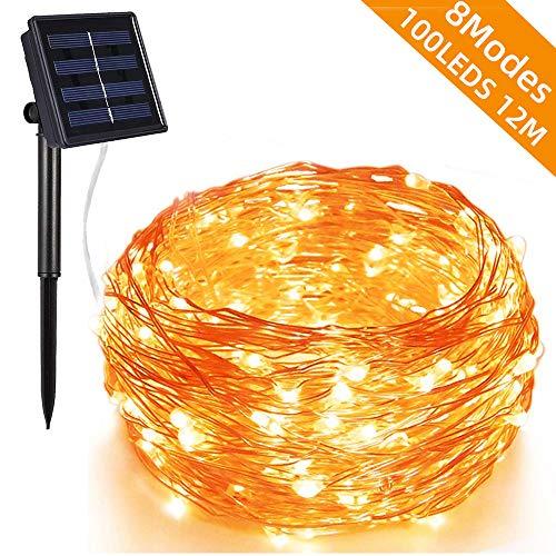 Piwoka LED Solar de 100 LEDs 12M Con 8 Modos para decortado casa, jardin, terraza, patio ect. (Amarillo, 12M-100LEDS)