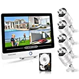 PoE Home Security Camera System with Monitor [Floodlight & 2 Way Audio],YESKAMO 12inch 1080P IPS Screen, 4pcs...
