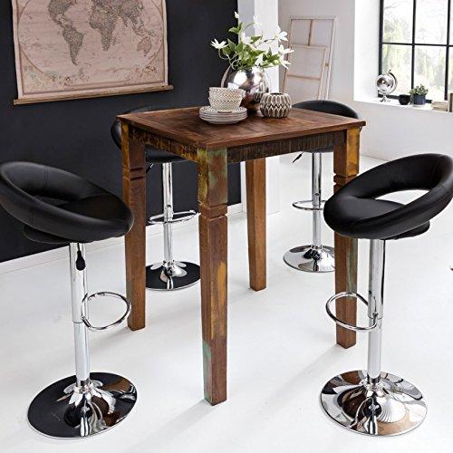 FineBuy Stehtisch KALKUTTA 80 x 80 x 110 cm | Massivholz Bartisch für 4 Personen | Rustikaler Tisch für Bar | Partytisch Shabby Chic | Hochtisch Massiv Holz
