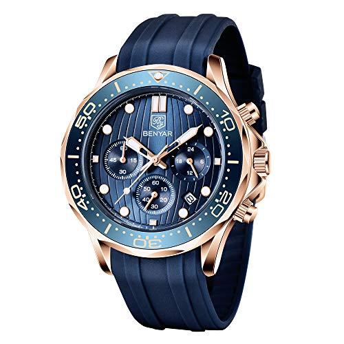 BENYAR Herren Uhr Analog Business Wasserdicht Chronograph Quarz Rechteck Fall Multi sub-dial Vintage Elegante Classic Uhren Leder Band Gurt Handgelenk Uhren für Männer Datum
