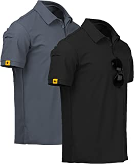 ZITY Mens Polo Shirt Cool Quick-Dry Sweat-Wicking Short Sleeve Sports Golf Tennis T-Shirt 2 Pack GreyBlack-L