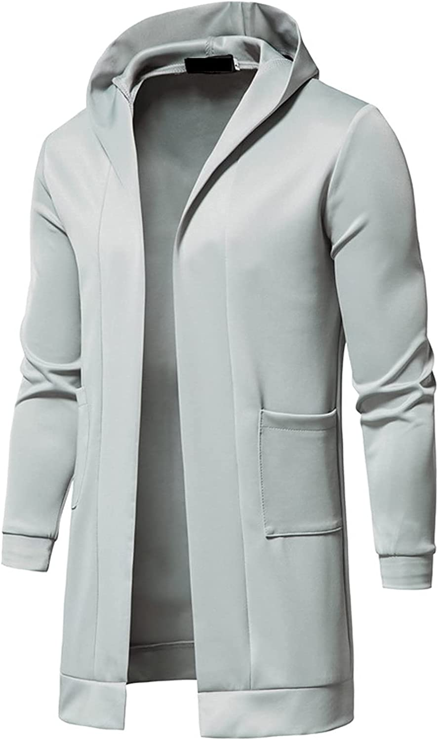 Tunic Cardigan Coat for Mens, 2021 Long Sleeve Open Front Casual Windbreaker Fashion Long Outerwear with Pockets