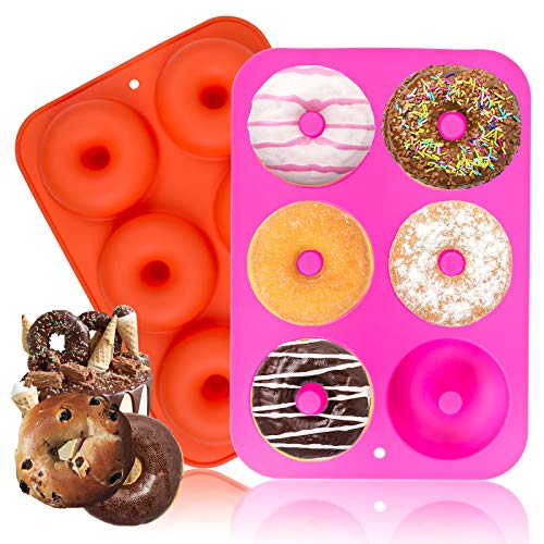Donut Pan, McoMce 2-Pack Non-Stick Donut Pans Silicone Molds, Makes Perfect 3 Inches Donuts Bagels and More, 6-Cavity Doughnut Pan Mini Donut Pan for Baking, Easy to Clean