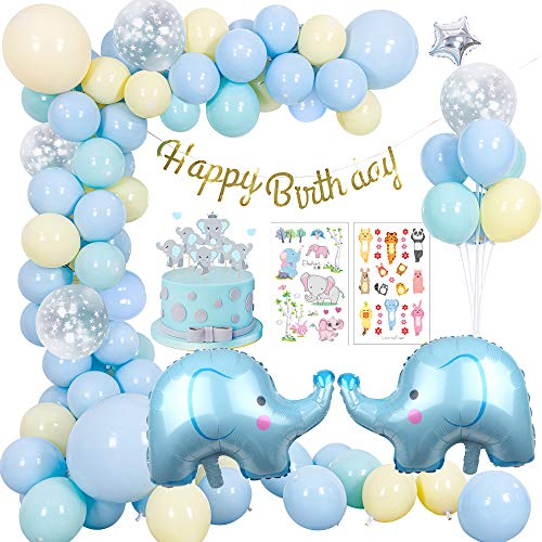 MMTX Decoración de la Fiesta de cumpleaños de Amarillo Azul, Feliz cumpleaños Decoraciones de Pancarta Niño Niña con Globo de Elefante, Globo de látex para Fiesta de niño niña (92 Piezas)