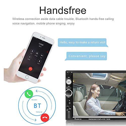 Podofo Autoradio 2 Din 7'' Bluetooth Voiture Stéréo Audio MP5 Écran Tactile Auto Radio Lecteur Téléphone Android Miroir Lien/FM/AUX/TF/SD/USB (Caméra de recul Incluse)