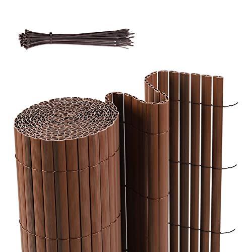 Sekey PVC Sichtschutzmatte Sichtschutzzaun Verstärkt Starke Privatsphäre, Dekorativer Kunststoffzaun für Garten, Balkon und Terrasse, Strukturierte Oberfläche, mit Kabelbindern, 80 x 400cm, Braun