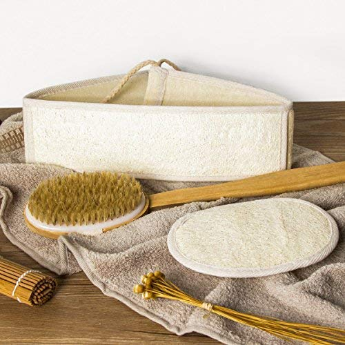 Brosse dos luwanz + éponge + éponge, sortie de bain avec poils naturels 41 cm Brosse de bain, éponge de bain naturel & 70 cm dos Sangle, pour douche, gommage corps, Circulation sanguine etc