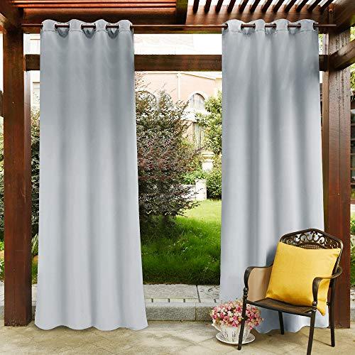 PONY DANCE Licht Blockieren Gardinen Balkon - Outdoor Vorhang für Gartenlaube & Terrasse Thermo Gardinen Mehltaubeständig Ösenschal, 1 Stück H 213 x B 132 cm, Grau-weiß