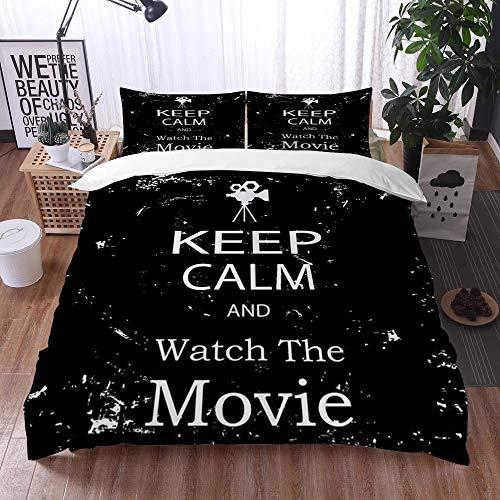 Qinniii Bedsure Funda Nórdica,Keep Calm Watch Movie Grunge Print,Fundas Edredón 240 x 260 cmcon 1 Funda de Almohada 40x75cm