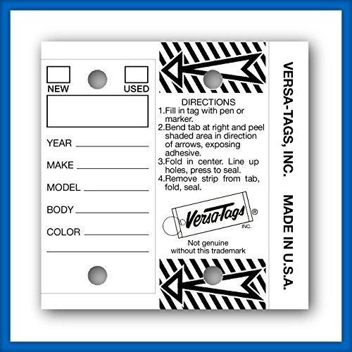 Versa Tag White Key Tags Self-Protecting, 250 tags per box with metal rings by Versa Tag