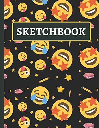 Sketchbook: Large Kids Emoji Sketchbook for Drawing and Doodling