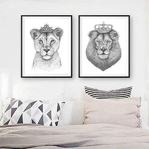 Tougmoo Der König der Löwen und die Königin der Löwin Wandkunst Poster Druck Schwarz Weiß Leinwand Malerei Nordische Moderne Bilder Für Wohnzimmer Dekor 30 * 40cm