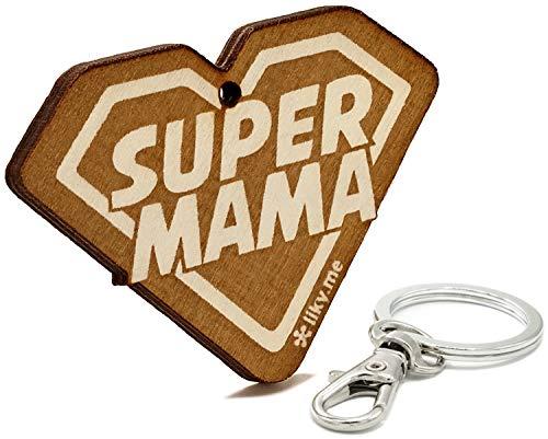 LIKY® Super Mama - Llavero Original de Madera Grabado Regalo para día de la Madre cumpleaños joyería Colgante Bolso Mochila