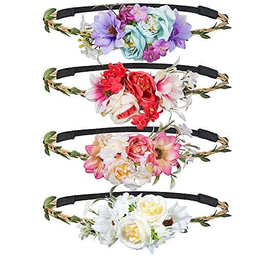 Haarband mit Blumen, MOOKLIN 4 Stück Stirnband Haarband Kopfschmuck Haarbänder Mehrfarbig Blume Haarreife mit elastischem Band für Frauen Mädchen Festival Hochzeit und Party