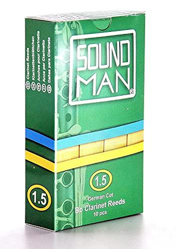 10 Soundman Blättchen für deutsche Klarinette - Stärke: 1,5 - Für Deutsches System - Clarinet Reeds German Cut - 10 pcs