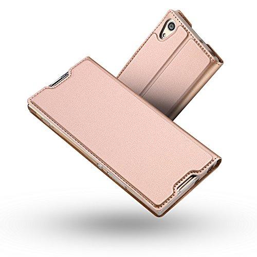 Radoo Funda Sony Xperia XA1, Slim Case de Estilo Billetera Carcasa Libro de Cuero,PU Leather con TPU Silicona Case Interna Suave [Función Soporte][Cierre Magnético] para Sony Xperia XA1 (Oro Rosa)