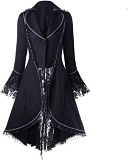 Women Gothic Tailcoat Retro Lace Strappy Steampunk Jacket Tuxedo Suit Victorian Coat