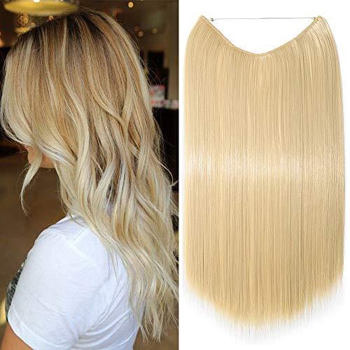 Banda uniforme de extensión de cabello con hilo invisible 60 cm de largo rubio - Extensiones de cabello de una pieza 3/4 cabeza completa, rubio muy claro