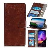 LMFULM® Hülle für HTC Desire 19 Plus (6,2 Zoll) PU Leder Magnet Brieftasche Lederhülle Retro Crazy Horse Muster Stent-Funktion Ledertasche Flip Cover für HTC 19 + Kaffee