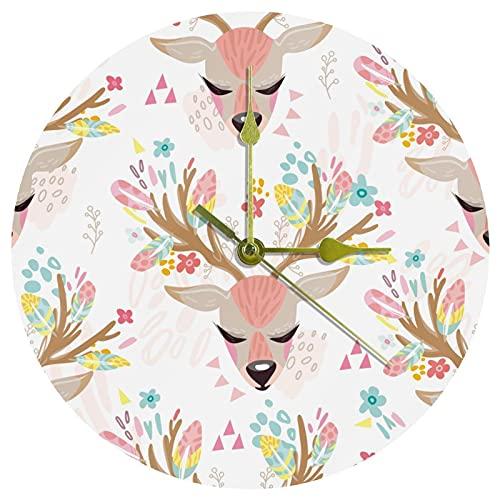 Yoliveya Reloj de pared redondo con diseño de ciervos con diseño floral de acuarela, para regalo, hogar, oficina, cocina, guardería, sala de estar, dormitorio, 25 cm