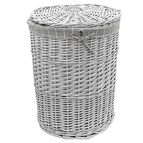 DANIEL JAMES Housewares Wicker Washing Laundry Basket Grey Bin Lid Bathroom Storage Hamper Canvas Lining