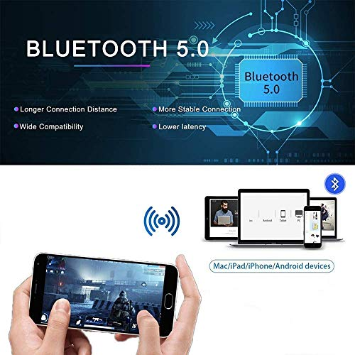 Super Compact Bluetooth Earbuds Wireless Bluetooth 5.0 Headphones Bluetooth Earbuds Stereo Earphone Cordless Sport Headsets in-Ear Earphones Built-in Mic Smart Phones Work/Running/Travel/Gym 6