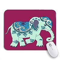 NINEHASA 可愛いマウスパッド ブルーアフリカンライトグリーンマジックエレファントペイズリー明るいライラックノンスリップラバーバッキングコンピュータマウスパッド用ノートブックマウスマット