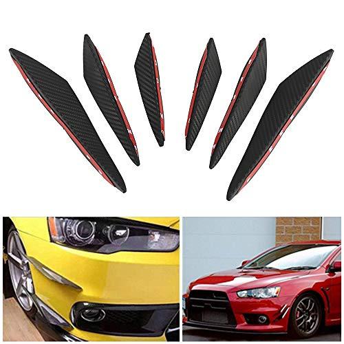 6Universal Carbon Faser Stil Auto Front Bumper Lip Splitter Canards Trim Kit Body Spoiler